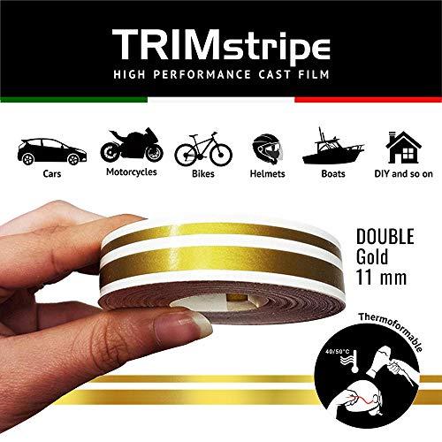 4R Quattroerre.it 10506 Trim Stripes Doppelt Klebestreifen für Autos, Gold, 11 mm x 10 mt