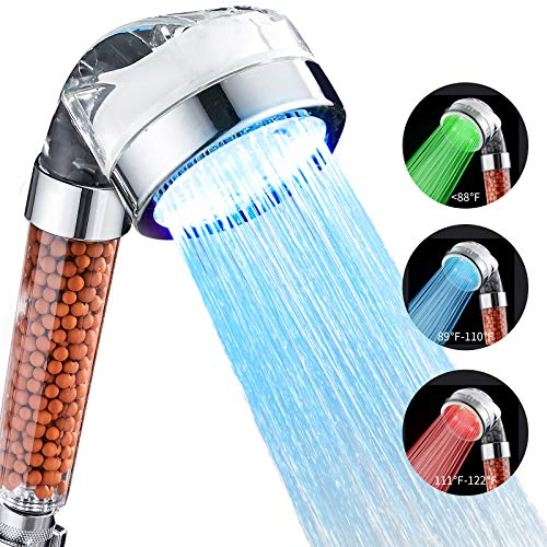 Cobbe LED Shower Head Color Changing, High Pressure Handheld Shower Head, With 3 temperature-controlled color-changing lamp ion filters for Dry Skin & Hair