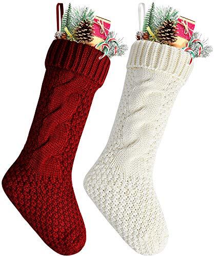 Calze di Natale a maglia uniche, bordeaux e avorio, Red and white, Length 18' pack 2