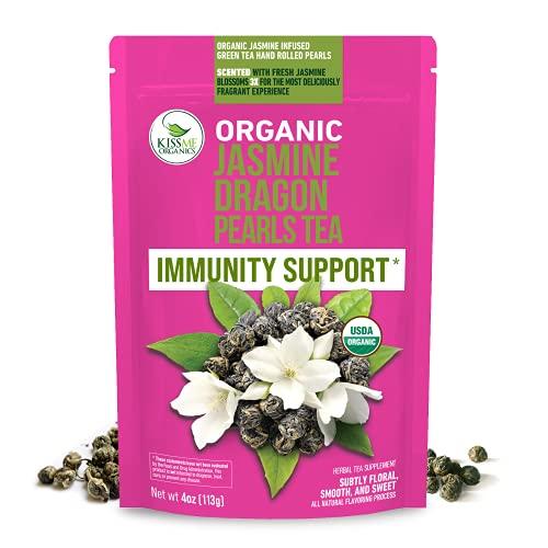 Kiss Me Organics Jasmine Tea - Organic Jasmine Dragon Pearls Loose Leaf Green Tea, 4 Ounces