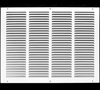 "20""w X 16""h Steel Return Air Grilles - Sidewall and Ceiling - HVAC Duct Cover - White [Outer Dimensions: 21.75""w X 17.75""h]"