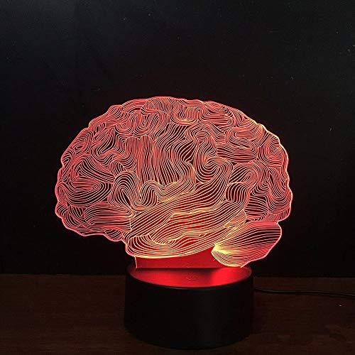 Vitila Illusionslicht-Nachtlicht-Gehirn-Modell Des Nacht-Led Brain Model Nachttischlampe Buntes Änderungs-Kreatives Geschenk, Schwarze Unterseite: Bunte Note + Fernbedienung