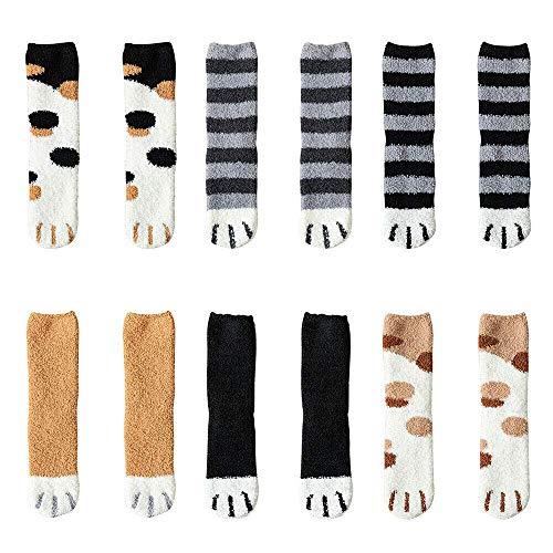 Trinwin 6 paia di artigli da gatto invernali Calzini da pavimento per dormire caldi e spessi, morbidi calzini in pile di corallo calzini tubolari femminili