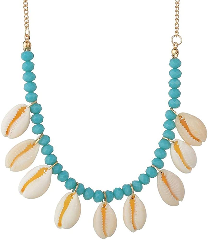 Fashion Blue Rope Chain Natural Seashell Choker Necklace Collar Necklace Shell Choker Necklaces for Summer Beach Gifts