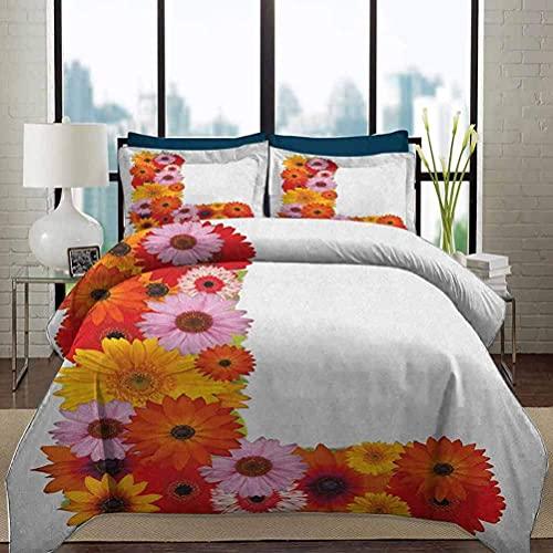 Ropa de cama Juego de funda nórdica Letra L Alfabeto de flores ultra suave y fácil de cuidar con pétalos de fragancia Floreciente Naturaleza Jardín Símbolos Juego de cama decorativo de 3 piezas