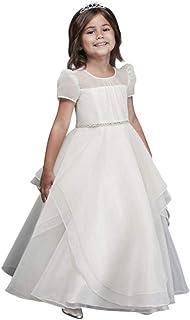 03b8174706a Organza Long Flower Girl Communion Dress with Crystal Belt Style CR1392