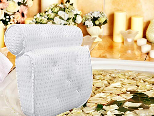 Bath Pillow Spa Bathtub Pillow Ergonomic Bathtub Cushion for Neck, Head & Shoulders, Luxury Bathtub Cushion, 4D Air Mesh for Men and Women, Fits for Hot Tub
