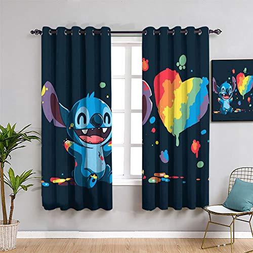 Lilo Stitch Anime Stitch Cortinas opacas para dormitorio o ventana cortina cortina cortina cortina cortina cortina cortina de 84 x 84 pulgadas