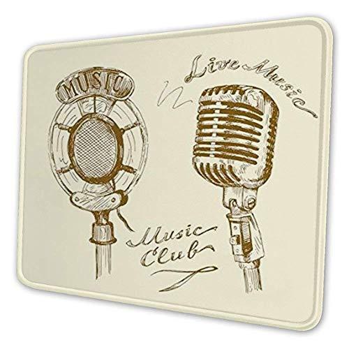 Rechthoekige Mousemat Mousepad, Oude Modieuze Doodles met Golven en Vintage Microfoon Print Retro Stijl Boho Decor