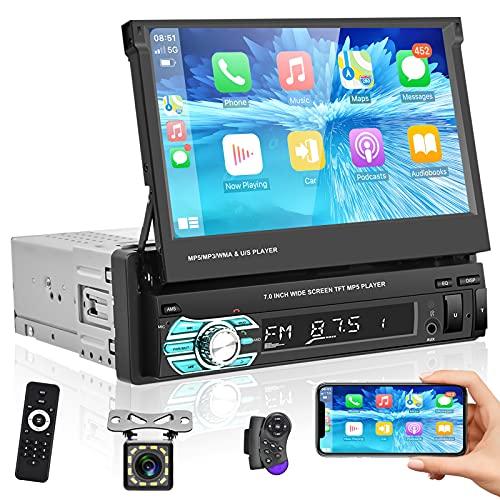 Podofo Autoradio mit Bluetooth Freisprecheinrichtung 7 Zoll Bildschirm 1din Carplay RüCkfahrkamera Ausfahrbarem Manuelle Display Touchscreen Car Radio USB Touchscreen FüR Android/IOS