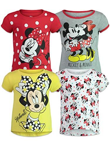 Disney Minnie Mouse Little Girls 4 Pack Short Sleeve Graphic T-Shirt 7-8