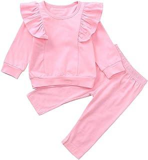 GODTOON シャツ パンツ 女の子 ベビー 秋 冬 長袖 衣装セット 純色 フリル 赤ちゃん かわいい 暖かい クリスマス ハロウイン 誕生日 赤ちゃん 出産祝い ギフト 内祝い プレゼント 贈り物 (110, ピンク)