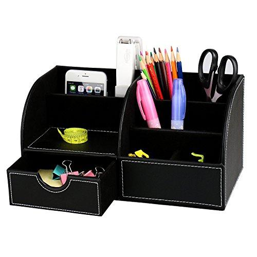 Itian 7 Vani portaoggetti Multifunzione PU Ufficio in Pelle da scrivania, Desktop Cancelleria Storage Box Collection, Penna/Matita / Cellulare Desk Forniture Organizer (Nero)