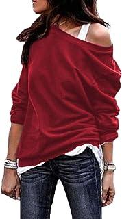 Jmwss QD Womens Long Sleeve Sexy Round Neck Pullover Sweatshirt Blouse Tops