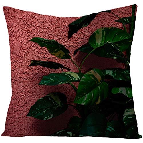 AtHomeShop 45 x 45 cm, funda de cojín decorativa en lino con hoja, cómoda funda de cojín cuadrada para coche, salón, dormitorio, oficina, sofá, terraza, decoración, color verde y rojo, estilo 35