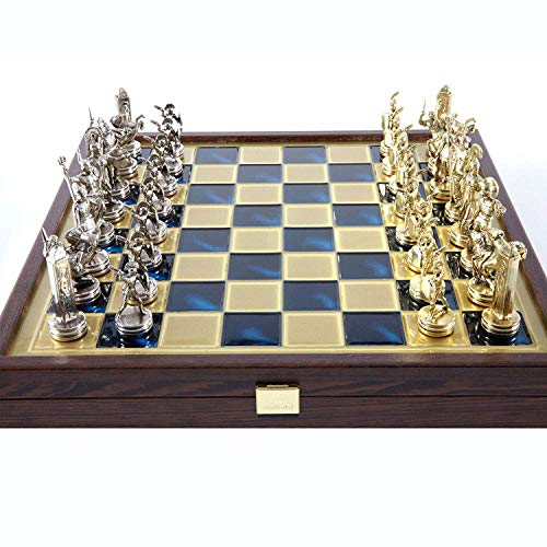 Manopoulos Greek Mythology Chess Set - Brass&Nickel - Wooden Case Blue Board