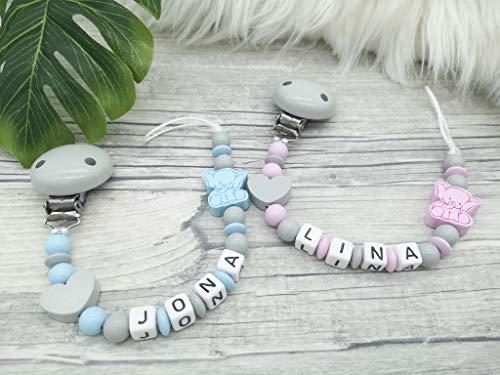 Schnullerkette Elefant, personalisierbar, mit Name, grau, blau, rosa,