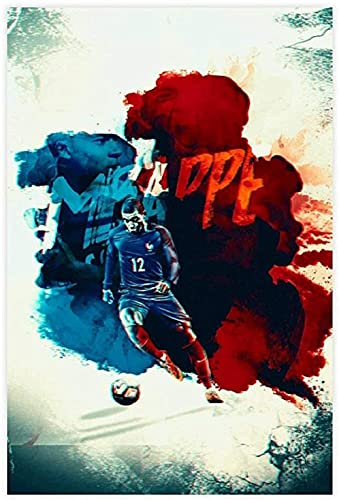 """ZRRTTG Lienzo Pintura Al óLeo Jugador de fútbol Kylian Mbappe HD Imagen Deportiva para decoración Familiar Poster Y Estampados Arte Cuadros 15.7""""x23.6""""(40x60cm) Sin Marco"""