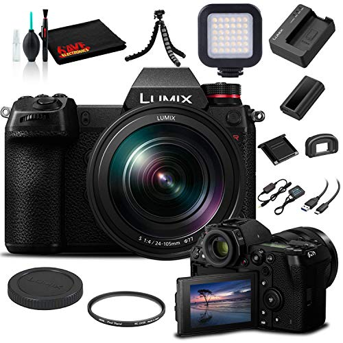 Panasonic Lumix DC-S1R Mirrorless Digital Camera with 24-105mm Lens (DC-S1RMK) - Bundle - with LED Video Light + Soft Bag + 12 Inch Flexible Tripod + Cleaning Set + 77mm UV Filter
