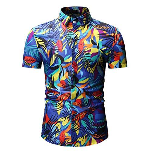 AmyGline Herren T Shirt Top Neu-Männer Druck Stehkragen Knöpfen Kurzarm Bluse Strandhemd Kurzarmshirt Sweatshirt Pullover Poloshirt Hemd