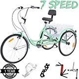 VANELL 7/1 Speed Tricycle Adult 20/24/26 in Trike Cruise Bike 3 Wheeled Bicycle W/Large Size Basket for Women Men Shopping Exercise Recreation (Light Green, 7 Speed - 24')
