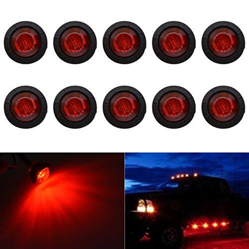 """KaTur 3/4 \""""runde LED Vorne Hinten Seitenmarkierungsanzeigen Licht Wasserdichte Kugel Abstand Licht 12 V für Auto Lkw (Rot)"""