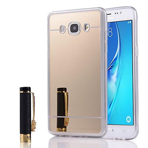 Annart beschermhoes gemaakt van siliconen met achterkant, spiegeleffect, randen van zachte silicone, voor Samsung Galaxy J5 (2016) J510FN – goud