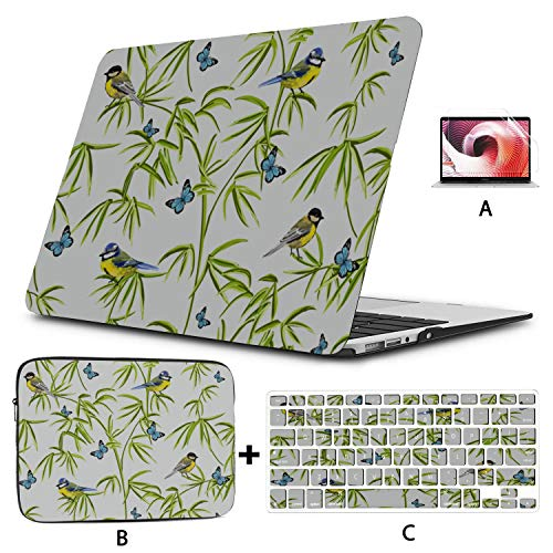 MacBook Pro Accessories Nature Fresh Tropical Rainforest Bamboo Mac Case Hard Shell Mac Air 11'/13' Pro 13'/15'/16' with Notebook Sleeve Bag for MacBook 2008-2020 Version