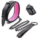 halsband damen choker ederhalsband damen Bondage Spielzeug BDSM Fetisch Necklace Schwarz/pink-Pink