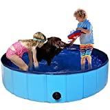 PAIGTEK Dog Swimming Pool, 63 Inch Large Collapsible Pet Bathtub Kiddie Pool, Durable PVC Pets Pool for Dogs Cats Kids Outdoor Indoor Use