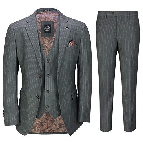 Classic 3 Pièce Hommes Pin Stripe Gris Costume Rétro des Années 1920 Cintrée [SUIT-3802-2-GREY-42UK]