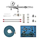 ABEST Professional 0.2mm.3mm.5mm Dual Action Airbrush Spray Paint Gun Kit Complete Set for General-Purpose...