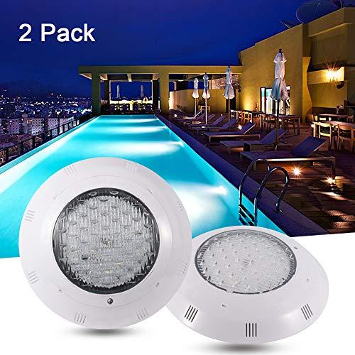 SUNSHIN Luz subacuática para Piscina IP68 a Prueba de Agua con Control Remoto, luz LED Sumergible de 18W AC 12V para Piscina al Aire Libre, decoración de iluminación para acuarios,White Light