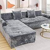 HUANXA Samt Elastische Stretch 1/2/3/4 Seater Spandex rutschfest Sofabezug Sofaüberwürfe, L-Form Sofa Überwürfe Ecksofa Sofaschoner Möbelbezug-4 Sitzer235-300cm-B