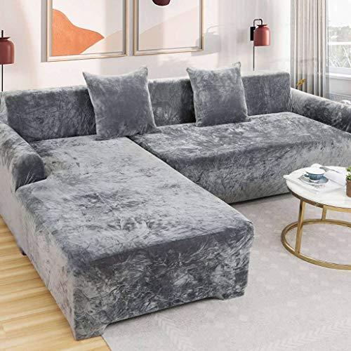 HUANXA Samt Elastische Stretch 1/2/3/4 Seater Spandex rutschfest Sofabezug Sofaüberwürfe, L-Form Sofa Überwürfe Ecksofa Sofaschoner Möbelbezug-2 Sitzer145-185cm-B