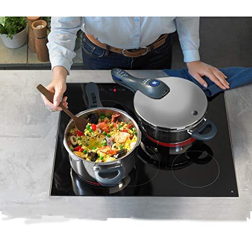 WMF Perfect Plus - Set con olla r谩pida de 22 cm de di谩metro de 6.5 litros y cuerpo de 3 litros con cesta de vapor, para inducci贸n
