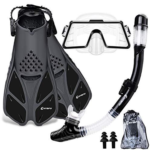 CHYBFU Gafas y Máscaras de Buceo y Tubo y Aletas de Buceo para Adulto, Unisex Pack de Snorkel Incluir Gafas de Buceo, Aletas Snorkel y Dry Top Snorkel, Kit de Snorkel Set para Mujeres Y Hombres (L/XL)