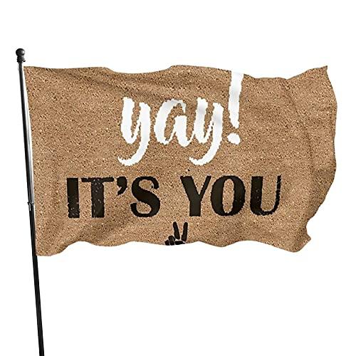 GOSMAO Bandera de jardín ¡Yay! Es Usted Divertido Color Vivo y Resistente a la decoloración UV Banner de Patio con Doble Costura Bandera de Temporada Banderas de Pared 150X90cm