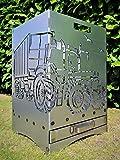 Feuerkorb Feuerstelle Maße 40x40x60 cm Motiv' Trecker 3 mit Ladewagen' inkl. Ascheschublade und Zwischenboden sehr stabil GARTENDEKO FOCKBEK