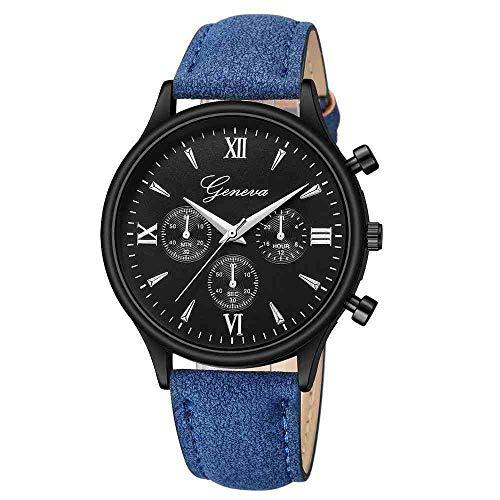 OLUYNG - Reloj de pulsera analógico de cuarzo de cristal azul Ray para hombre, de moda, de piel sintética, reloj de pulsera para hombre de lujo de las mejores marcas H