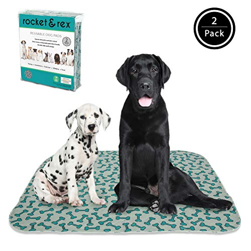 rocket & rex Washable Dog Pee Pads. Dog Training Pads, Waterproof, Reusable Dog Pee Pads. Leak-Proof and Absorbent Puppy Pee Pads. Whelping, Puppy Travel Pads, Dog Bowl Mat.