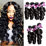 Brazilian Loose Wave Bundles 100% Human Hair Bundles Loose Wave Bundles 8A Unprocessed Remy Hair Bundles Virgin Hair Extensions Natural Black 22'24'26'28'