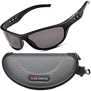 ZILLERATE Polarized Sunglasses For Men – Gafas De Sol Para Hombre – Mens & Womens Sport Sun Glasses, Running Golf Driving Fishing Cycling Sports, 100% UV Protection, Light & Durable Wrap Frame (Black)