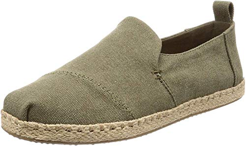 Price comparison product image TOMS Men's Deconstructed Alpargata Rope Slip Ons Olive Washed Canvas Mens 9