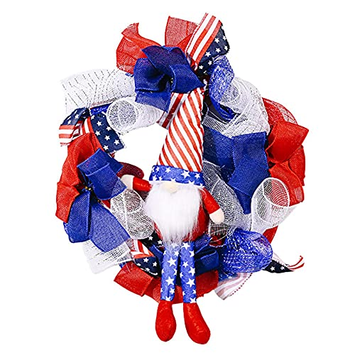 favourall Front Door Artificial Garland, American Memorial Patriotic Wreath, Outdoor Independence Day Decoration, USA, July 4th, Garland Flag For And Window Decoration