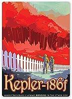 コレクターウォールアート訪問ケプラー186F-ヴィンテージティンサインアートオフィス用コーヒーオフィスプールヤード公共トイレ駐車場家の壁の装飾、ヴィンテージアートポスター、家の壁の装飾