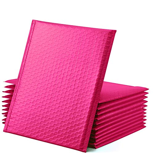 GSSUSA Pink Poly Bubble Mailers 8.5x12 Self-Seal Packaging Bags, Small Business Supplies, Padded Envelopes, Bubble Envelopes, Mailing Bags, Packaging for Small Business, Pink Bubble Mailer, 25 Pack