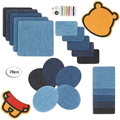 Fun Sponsor Patches Zum aufbügeln,Kostenloses Bärenpflaster, Denim Baumwolle Patches Bügeleisen Reparatursatz Aufbügelflicken Bügelflicken Jeans Flicken aufbügeln (20pcs)