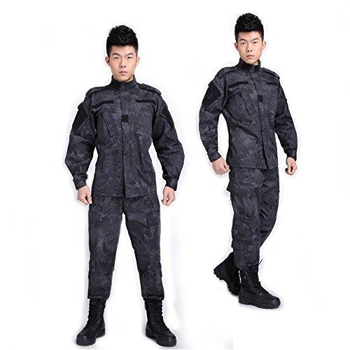 Python Camouflage Suit Combat BDU Uniform Militär Uniform BDU Jagd Anzug Planspiel Paintball Coat + Pants (M, Black Python Camouflage)