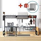 BRIAN & DANY Escurreplatos sobre fregadero, organizador de almacenamiento de acero...